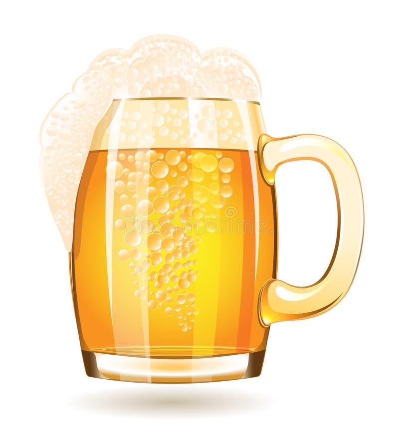 Mok bier op een witte achtergrond wordt geïsoleerd die royalty-vrije illustratie