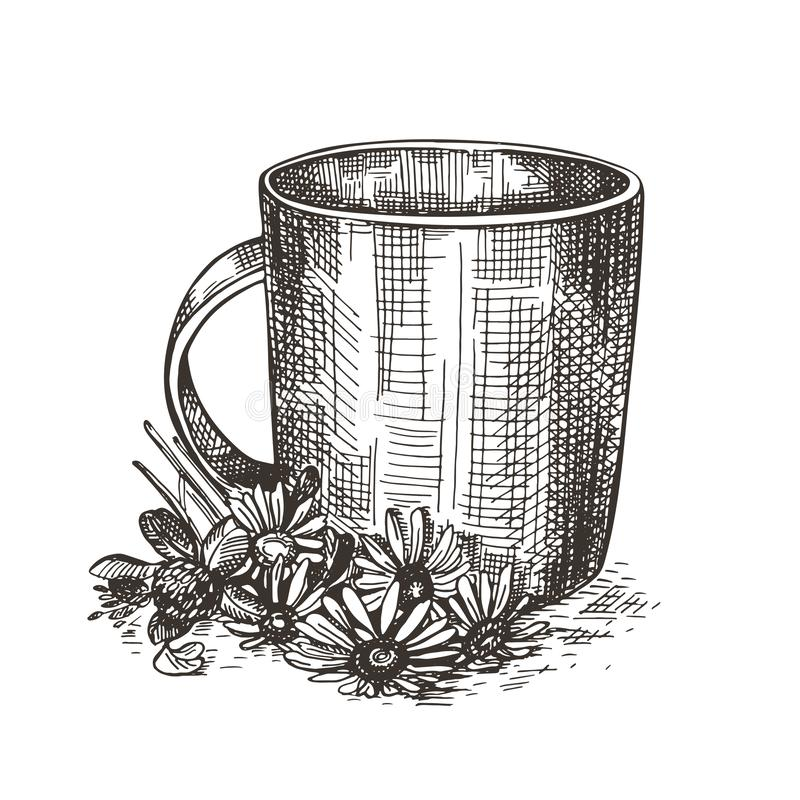 Mok en boeket van wildflowers De illustratie van de schetsstijl stock illustratie