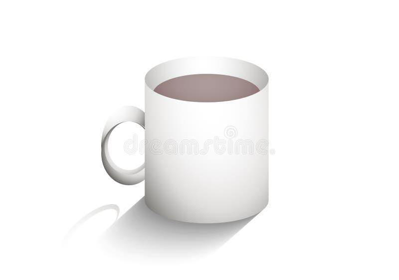 Mok koffie met schaduw stock illustratie