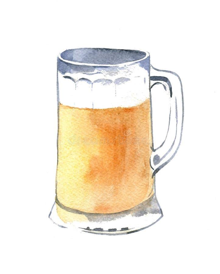 Mok licht bier Hand getrokken die waterverfillustratie op witte achtergrond wordt geïsoleerd royalty-vrije illustratie