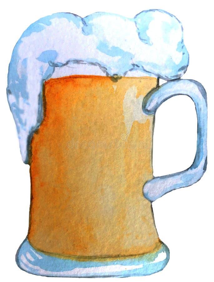 Mok licht bier met schuim waterverfillustratie voor ontwerp van affiches, kaarten, tijdschriften vector illustratie