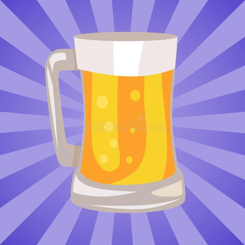 Mok Lichte Bier Vectorillustratie vector illustratie
