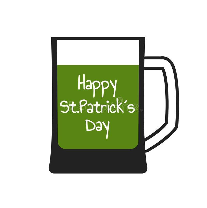 Mok met groen bier stock illustratie