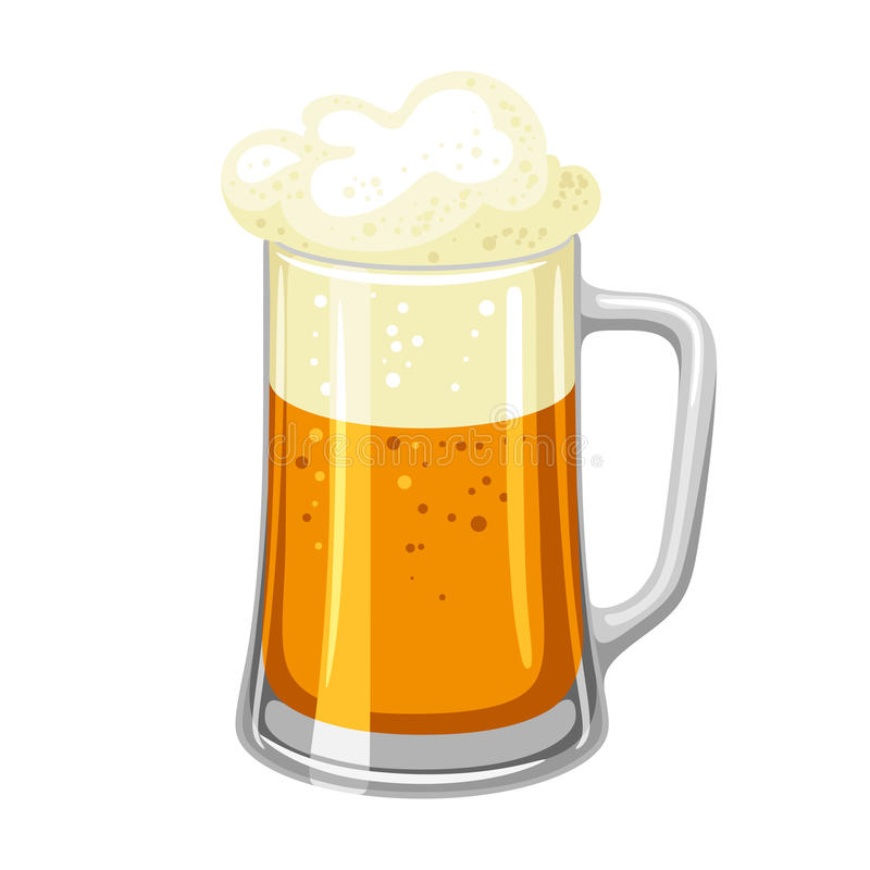 Mok met licht bier en schuim Illustratie voor Oktoberfest royalty-vrije illustratie