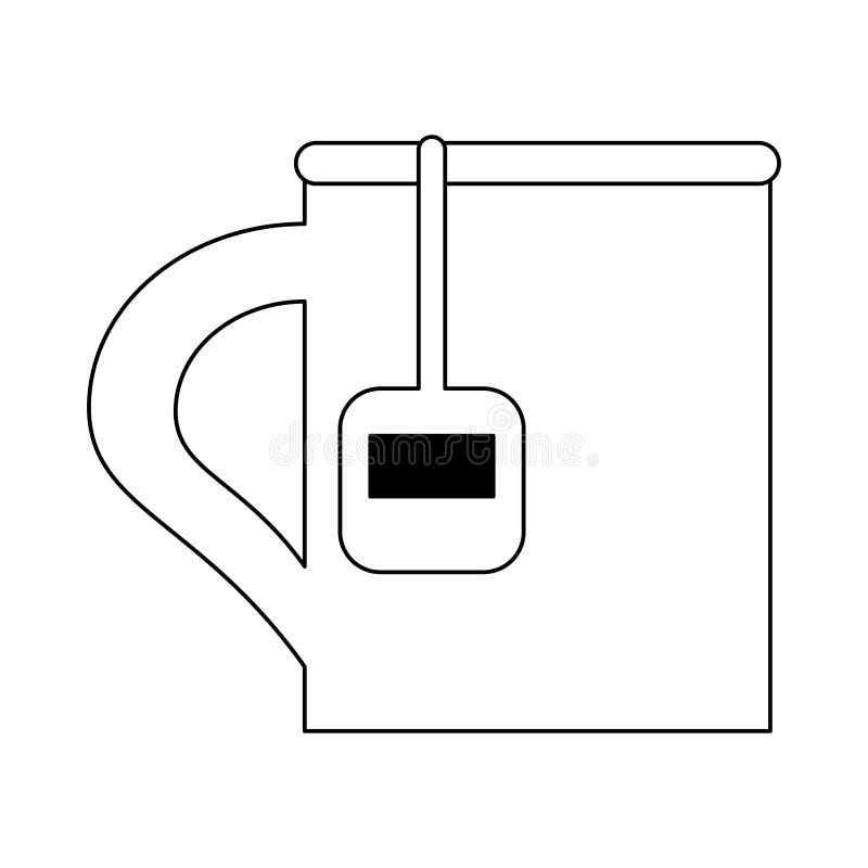 Mok met zwart-wit theezakje stock illustratie