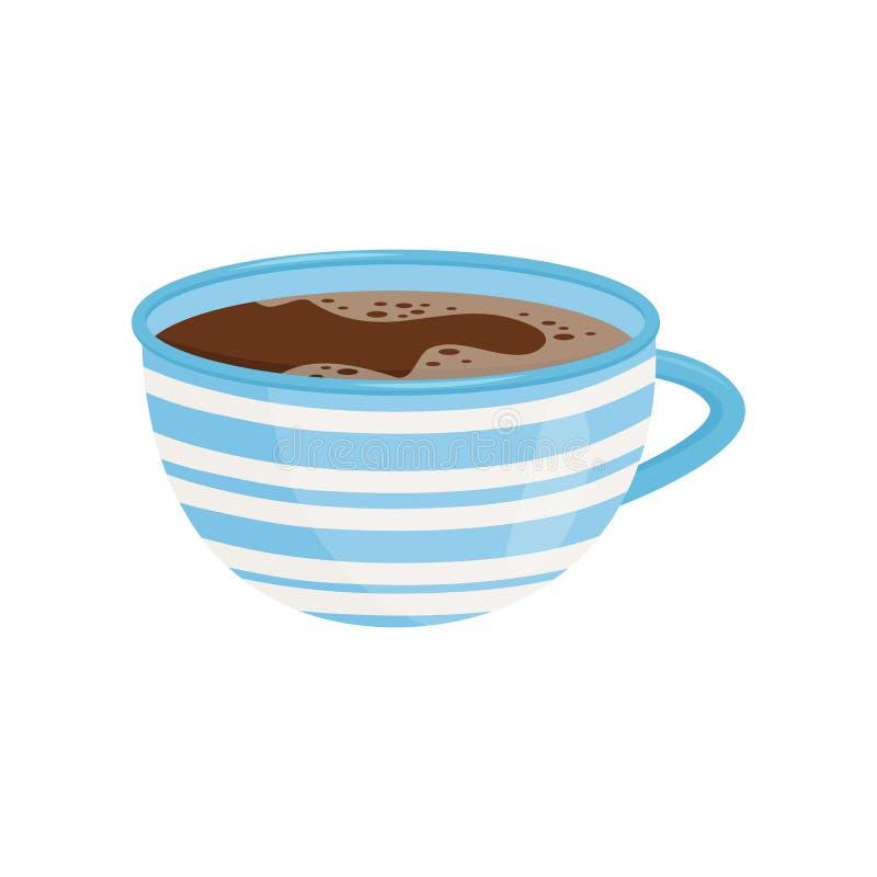 Mok Thee of Koffie Smakelijke drank Heerlijke hete dink Heldere blauwe ceramische kop met witte strepen Vlak vectorpictogram vector illustratie