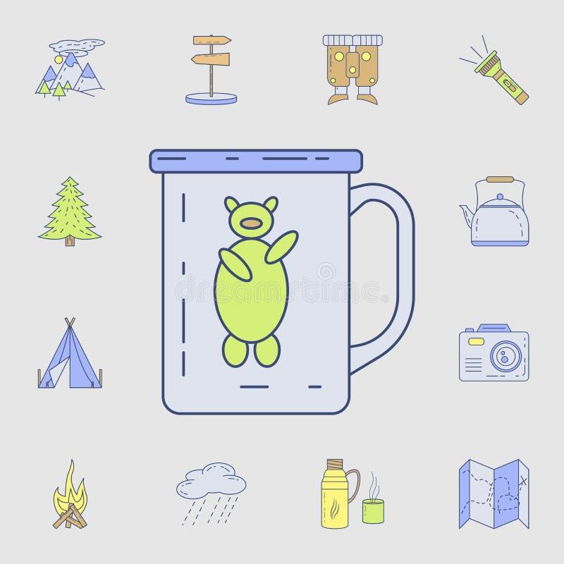 mok voor het kamperen pictogram Gedetailleerde reeks kleur het kamperen hulpmiddelpictogrammen Premie grafisch ontwerp Één van de royalty-vrije illustratie