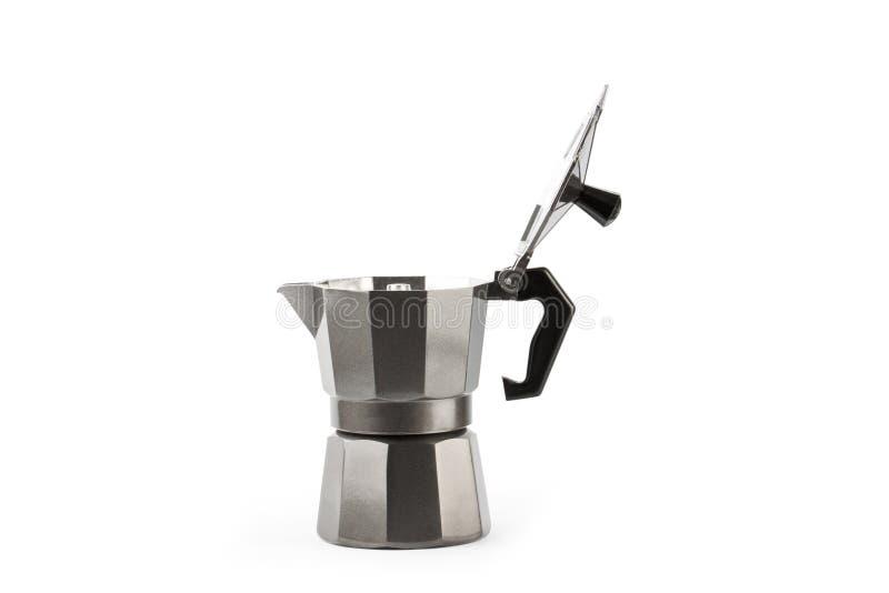 Moka coffee pot. Metal italian espresso maker isolated. On white background stock images