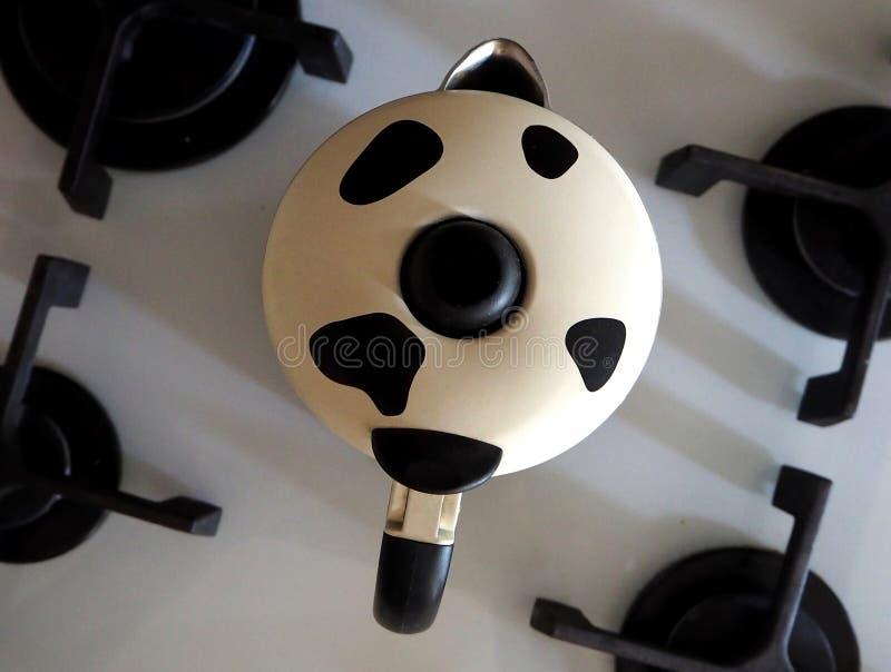 Moka pot for cappuccino. Coffee maker `moka` for cappuccino stock photography