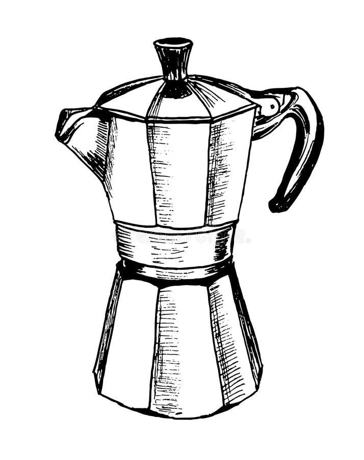 Moka pot coffee maker sketch hand drawn stock photo