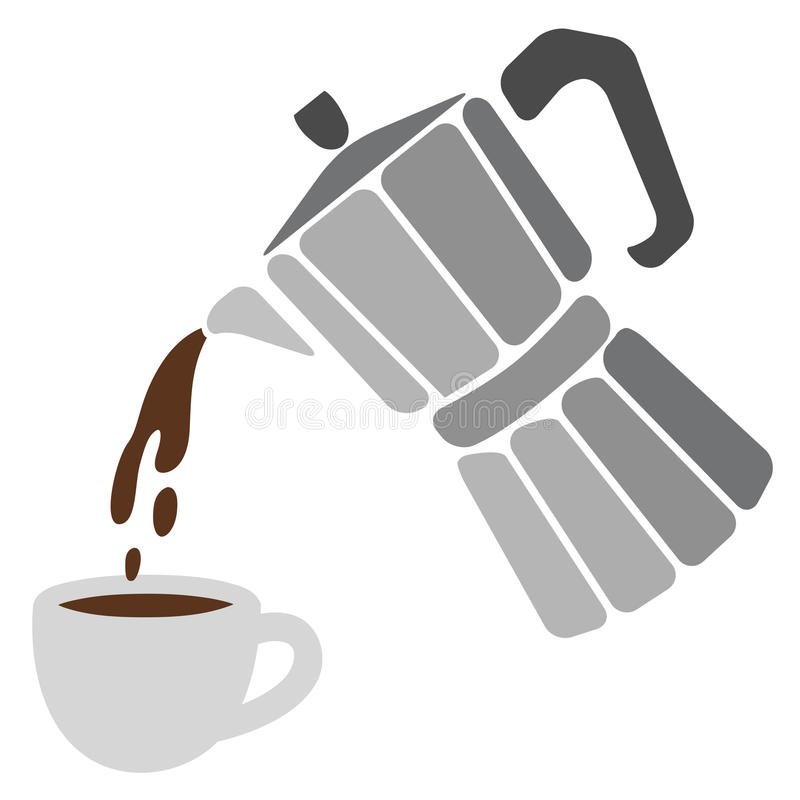 Moka pot and cup of coffee royalty free illustration