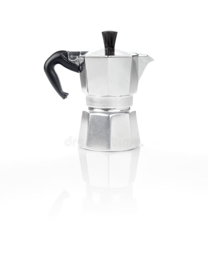 Moka Pot, italian espresso machine coffee maker and its reflection. Moka Pot, also known as stove top espresso machine italian coffee maker on white background stock images