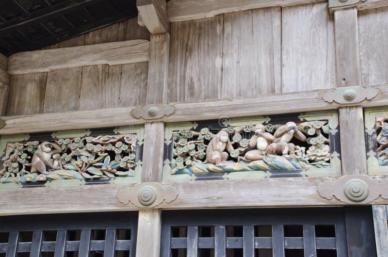 Mokey rzeźba w Nikko obraz royalty free