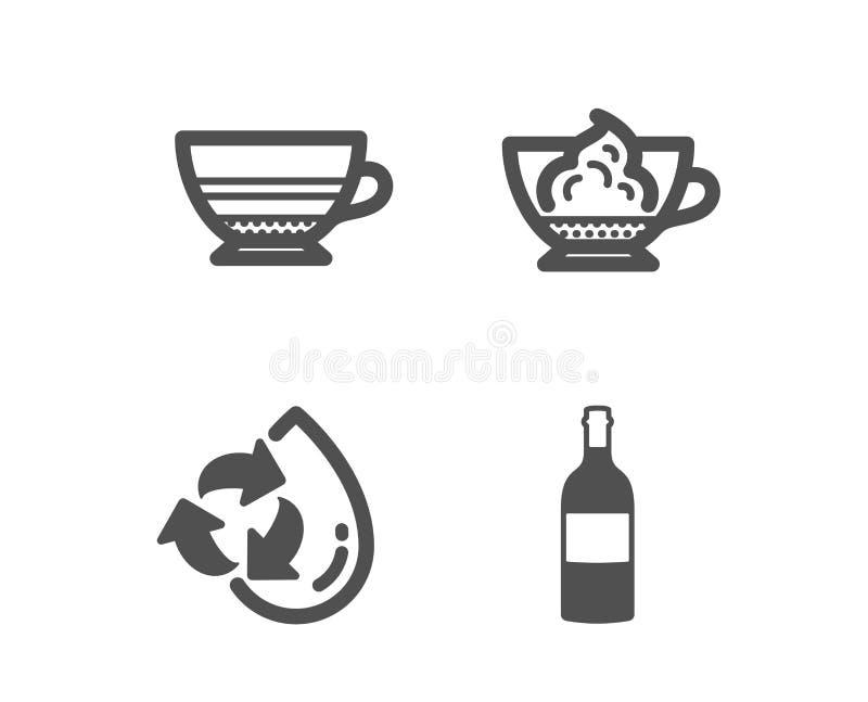 Mokka, kawy espresso śmietanka i Przetwarza wodne ikony Wino butelki znak Filiżanka, Cukierniany przeciwu panna, napełniania aqua royalty ilustracja