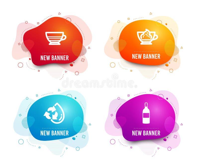 Mokka, kawy espresso ?mietanka i Przetwarza wodne ikony Wino butelki znak Fili?anka, Cukierniany przeciwu panna, nape?niania aqua ilustracji