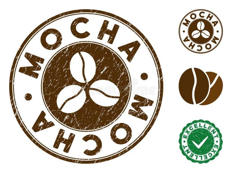 Mokka znaczek z Grunge powierzchnią royalty ilustracja