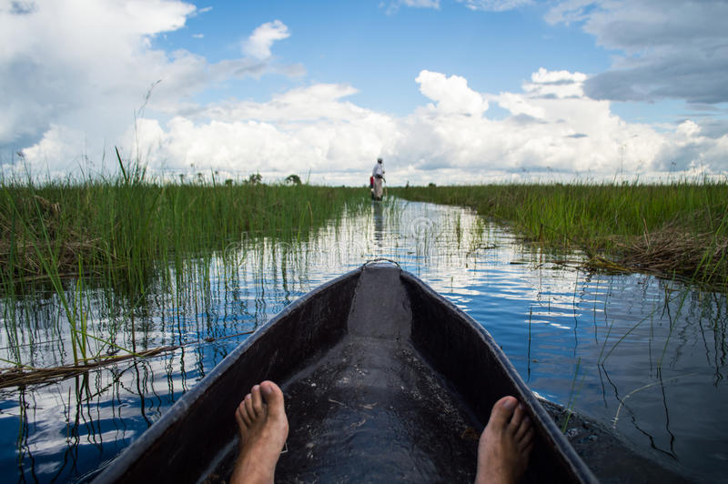 Mokoro Canoe Trip in the Okavango Delta near Maun, Botswana. Mokoro Canoe Trip in the Okavango Delta near Maun in Botswana stock photos