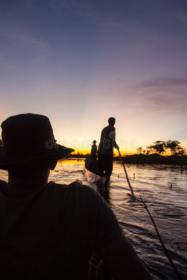 Mokoro Poler στο δέλτα Okavango, Μποτσουάνα στοκ φωτογραφίες με δικαίωμα ελεύθερης χρήσης