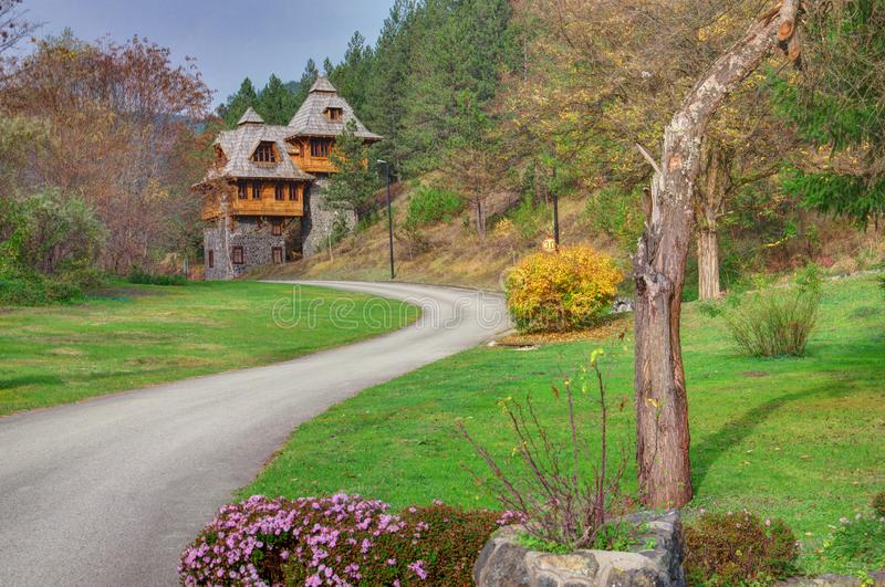 Mokra Gora, Wooden Town / Mechavnik/ - Town which was build for the film `Life is a miracle` by Emir Kusturica. Serbia, Mokra Gora, Wooden Town / Mechavnik/ stock image