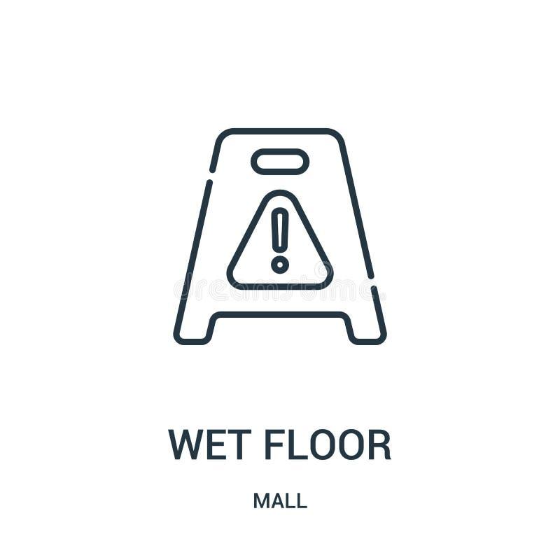 mokry podłogowy ikona wektor od centrum handlowe kolekcji Cienkiej linii konturu ikony wektoru mokra podłogowa ilustracja Liniowy royalty ilustracja
