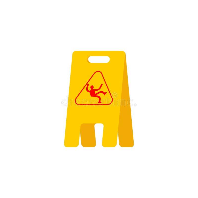Mokry podłogowy koloru żółtego znak ostrożność śliski wypadek ilustracja wektor