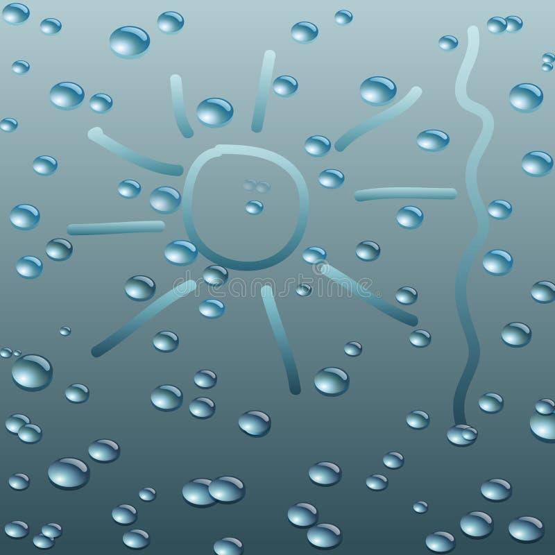 Mokry szkło z raindrops. Wektorowa ilustracja. ilustracji