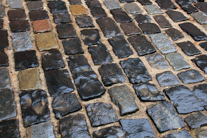 Mokrzy kamienie brukują po deszczu zdjęcie stock