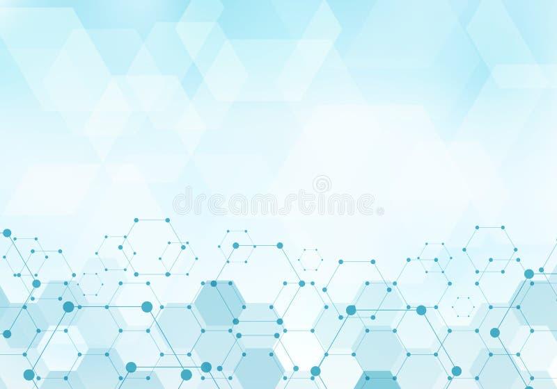 Molécula abstrata do teste padrão dos hexágonos no conceito digital da tecnologia azul do fundo com espaço da cópia Elementos geo ilustração do vetor