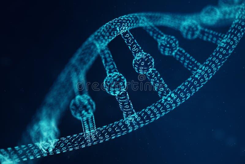 Molécula artificial de la DNA del intelegence La DNA se convierte en un código binario Genoma del código binario del concepto Tec foto de archivo