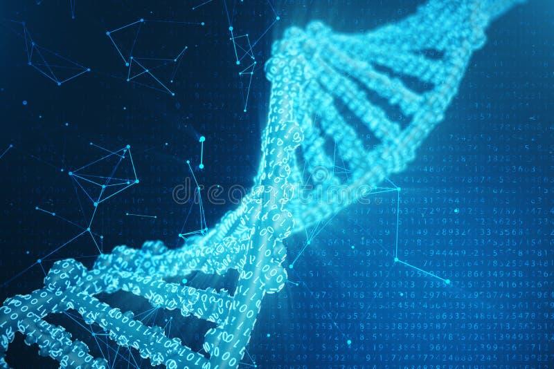 Molécula artificial do ADN do intelegence Genoma do código binário do conceito Ciência abstrata da tecnologia, ADN artificial do  ilustração stock