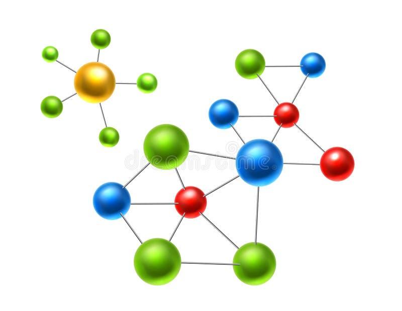 Molécula atômica realística do vetor, grupo dos átomos 3d ilustração stock