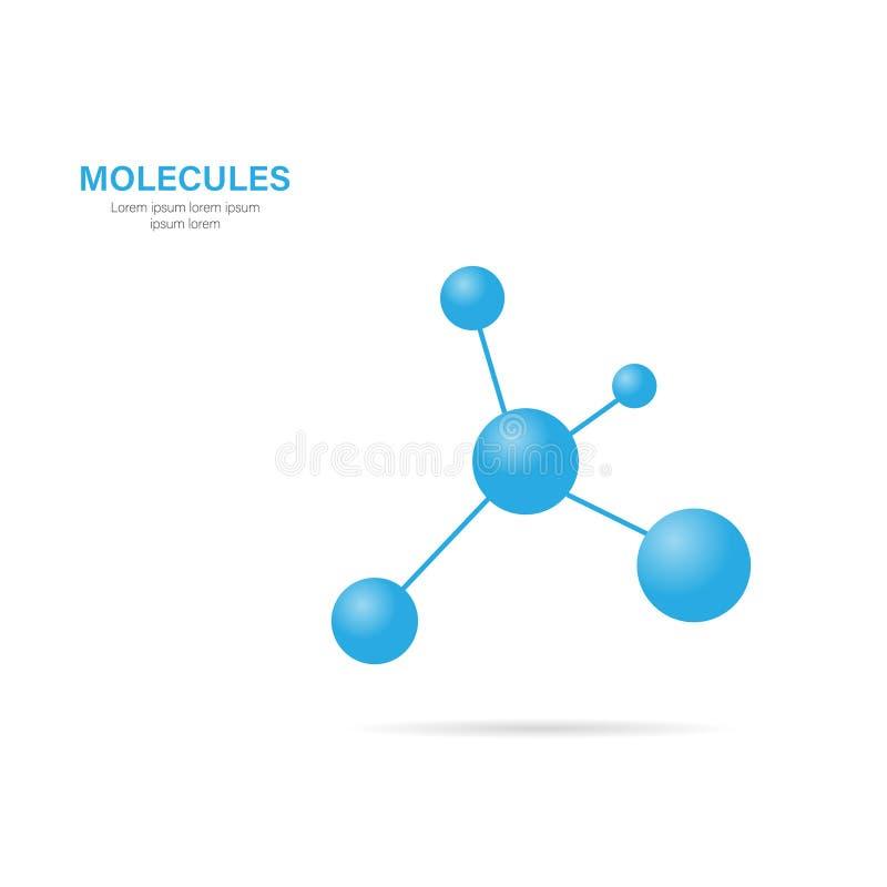 Molécula con la sombra en un fondo blanco, vector ilustración del vector
