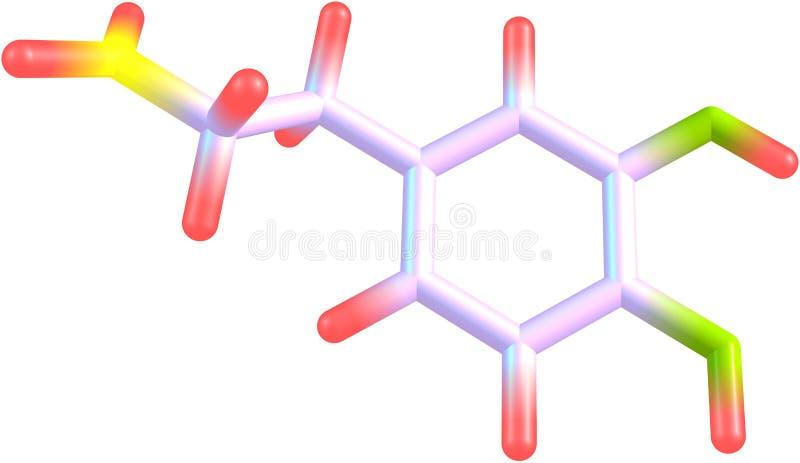Molécula da dopamina isolada no branco ilustração do vetor