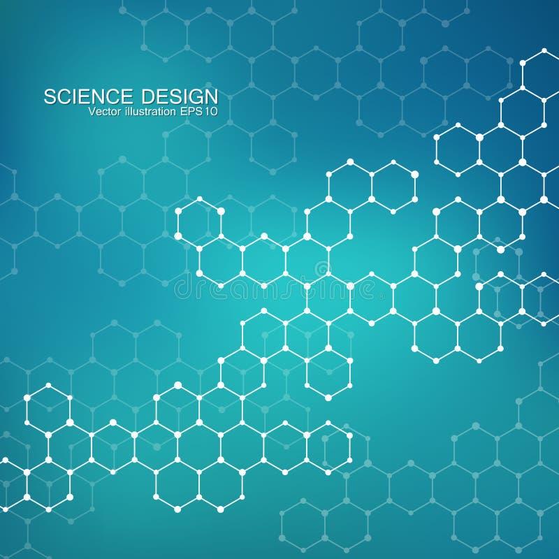 Molécula da estrutura do ADN e dos neurônios Átomo estrutural compostos químicos Medicina, ciência, conceito da tecnologia