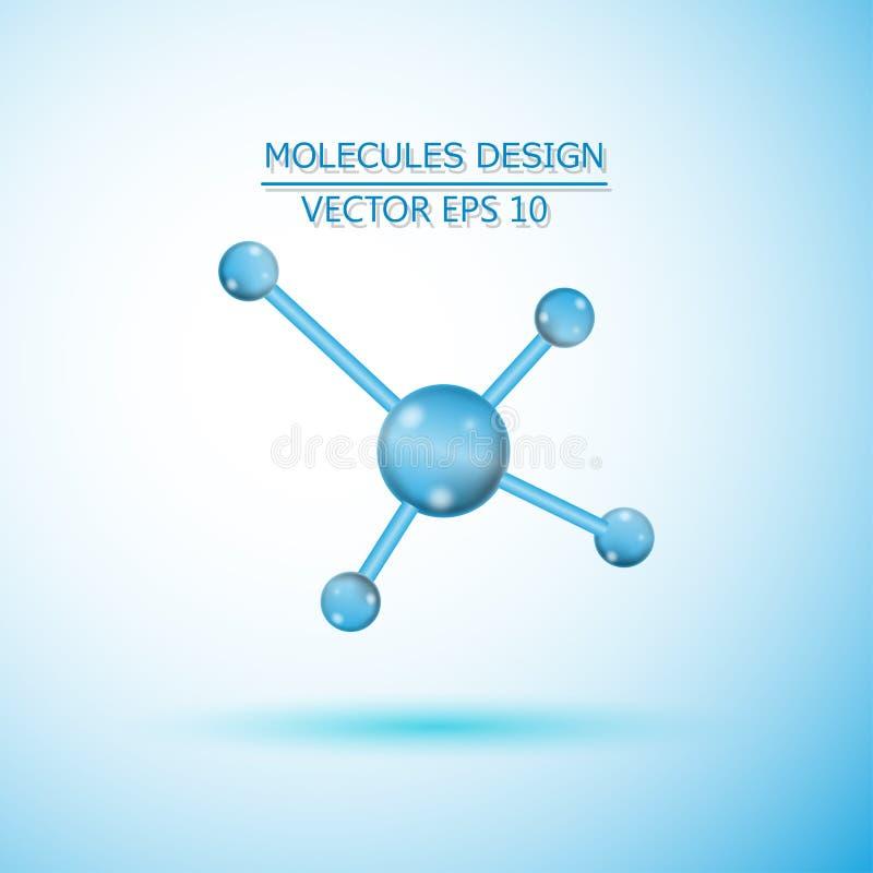 Molécula da estrutura do ADN e dos neurônios compostos genéticos e químicos ilustração stock