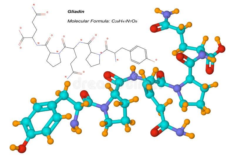 Molécula da gliadina, componente do glúten ilustração royalty free