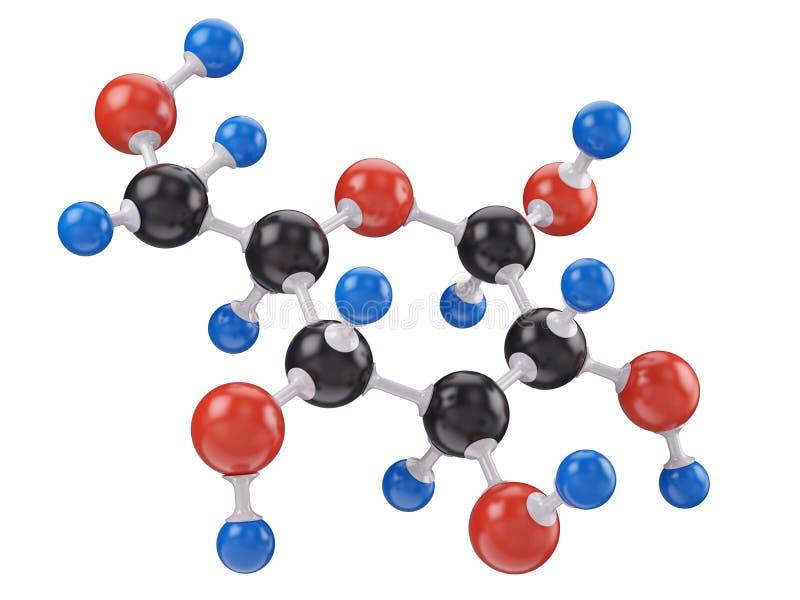 Molécula da glicose isolada no branco ilustração stock