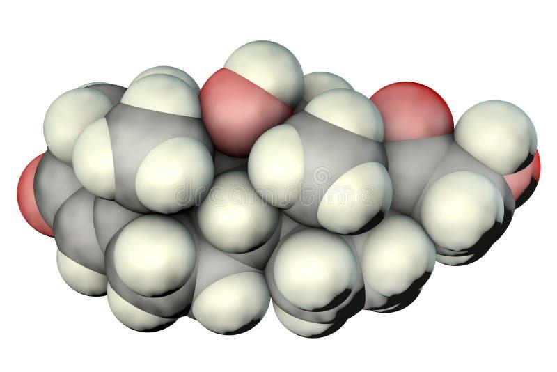 Molécula da hormona do cortisol ilustração stock