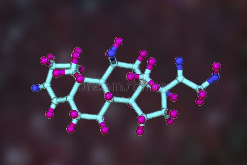 Molécula da hormona do cortisol ilustração do vetor