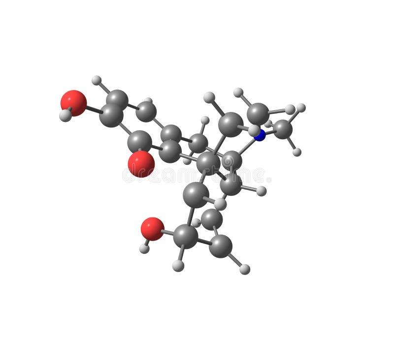Molécula da morfina isolada no branco ilustração do vetor
