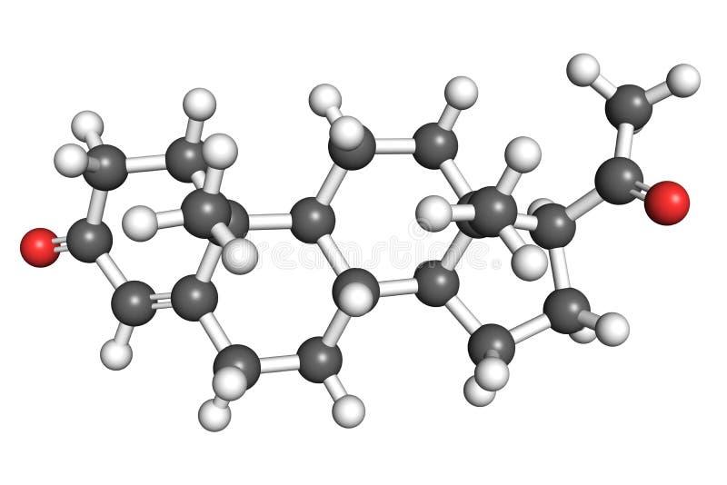 Molécula da progesterona ilustração royalty free