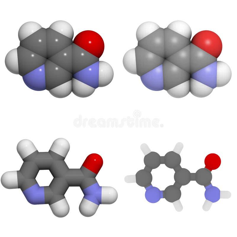 Molécula da vitamina B3 (niacin, niacinamide) ilustração stock