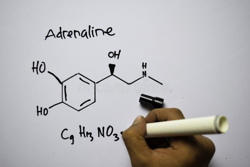Molécula de adrenalina C9,H13,NO3 escrita no quadro branco Fórmula química estrutural Conceito de educação imagem de stock royalty free