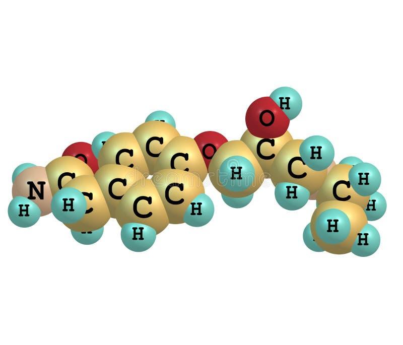 Molécula de Atenolol isolada no branco ilustração do vetor