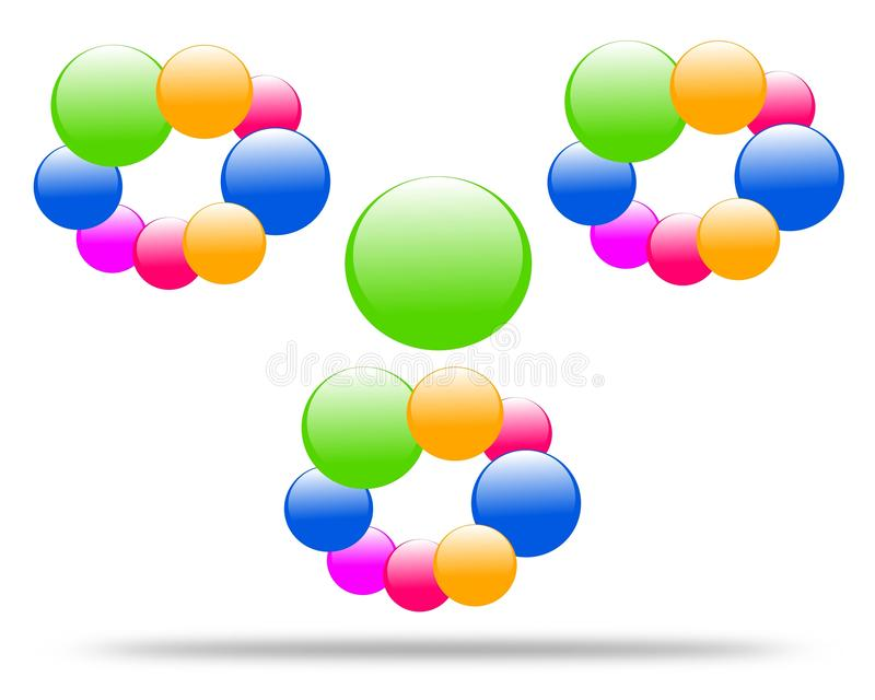 Molécula de dibujo del logotipo de la compañía stock de ilustración