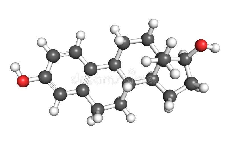Molécula de Estradiol ilustração stock
