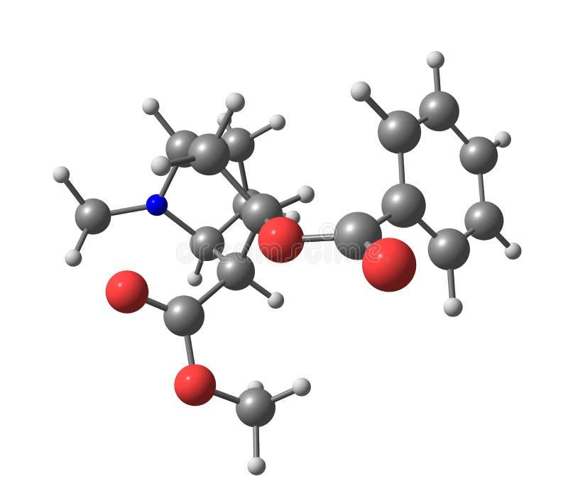 Molécula de la cocaína aislada en blanco ilustración del vector