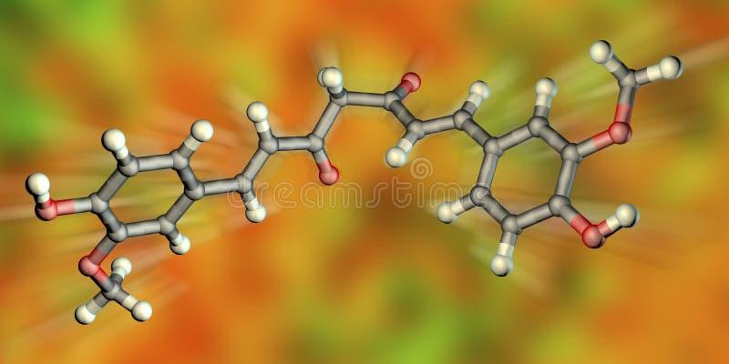 Molécula de la curcumina, un tinte amarillo-naranja obtenido de la cúrcuma fotografía de archivo