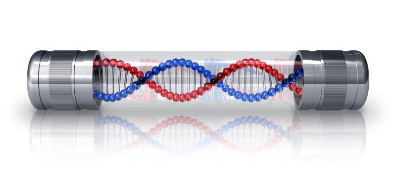 Molécula de la DNA en cápsula hermética stock de ilustración