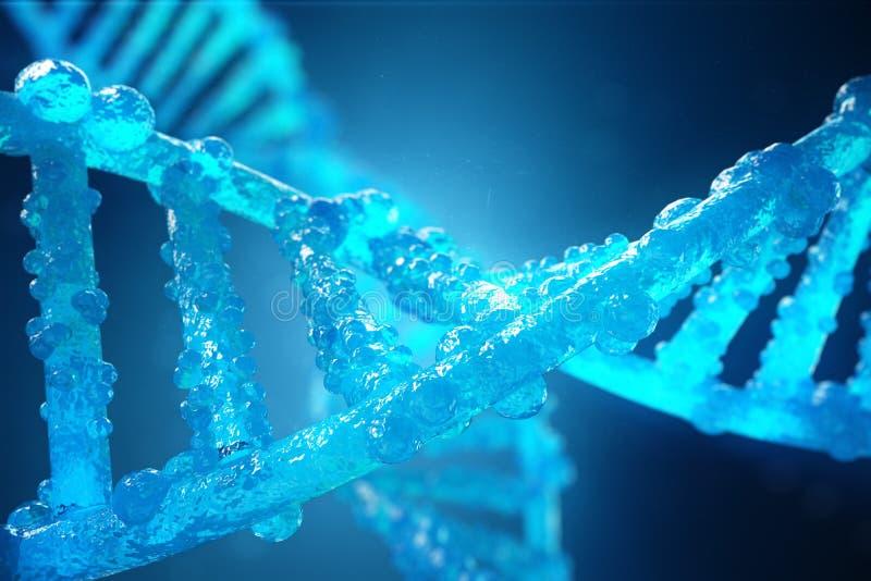 molécula de la DNA de la hélice del ejemplo 3D con los genes modificados Corrección de la mutación por la ingeniería genética Con ilustración del vector